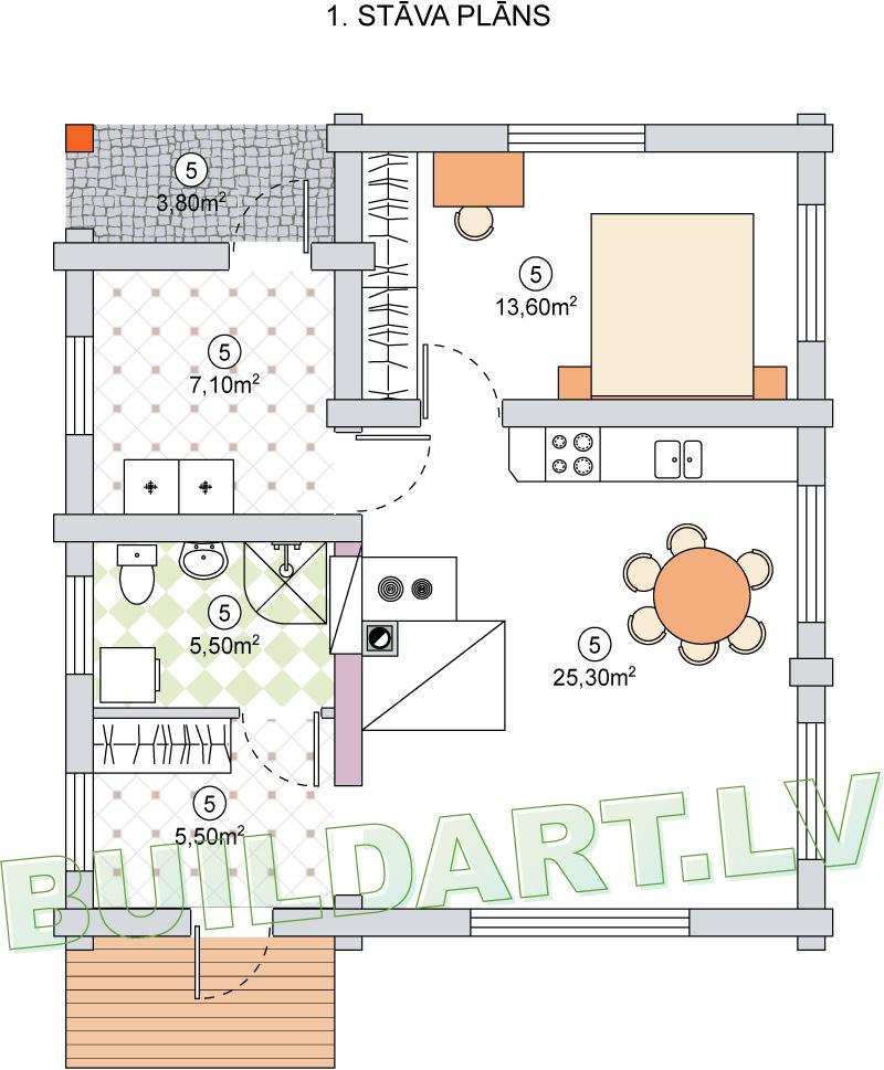 """Dzīvojamās mājas projekts """"Ilze"""" - plāna versija"""