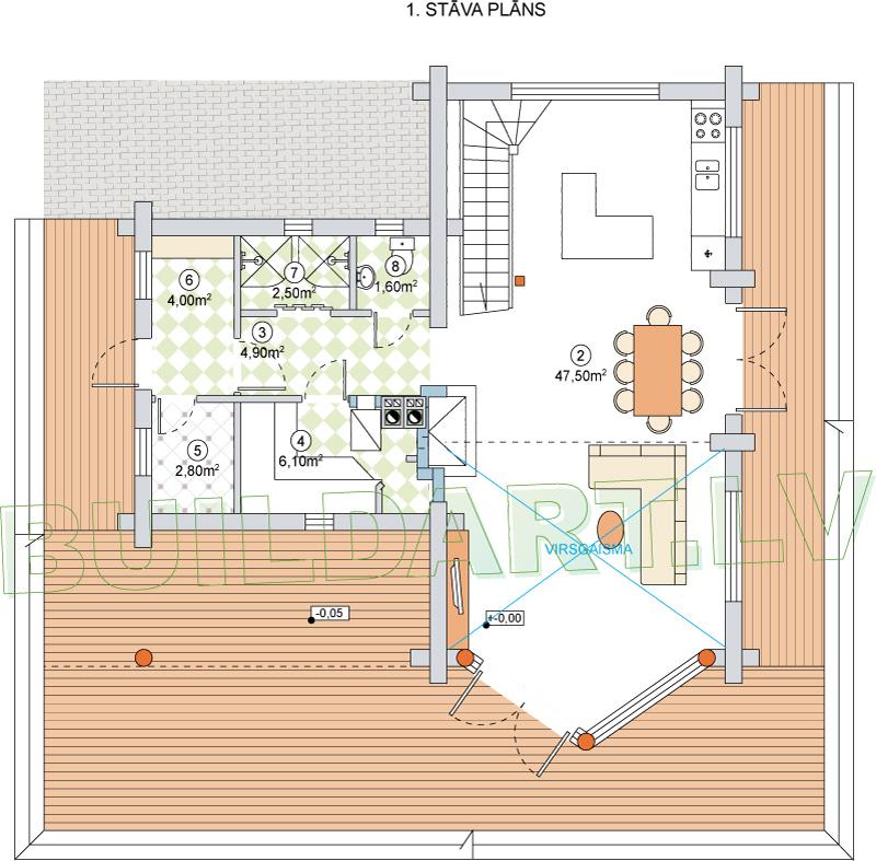 """Dzīvojamās mājas projekts """"Valda"""" - 1. st. plāns versija"""
