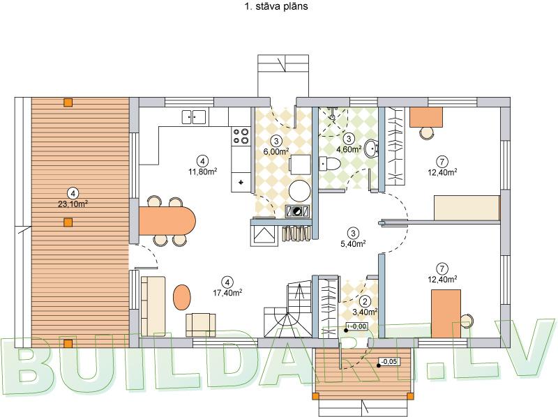 """Dzīvojamās mājas projekts """"Brigita"""" - 1.st. plāns"""
