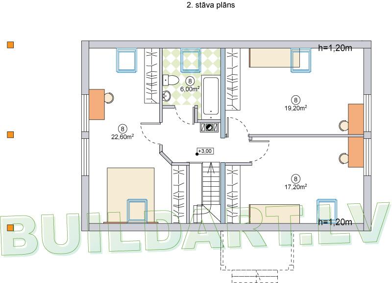 """Dzīvojamās mājas projekts """"Brigita"""" - 2.st. plāns"""