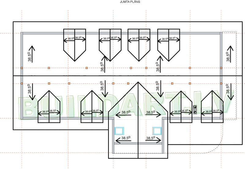 """Dzīvojamās mājas projekts """"Armands"""" - jumta plāns"""