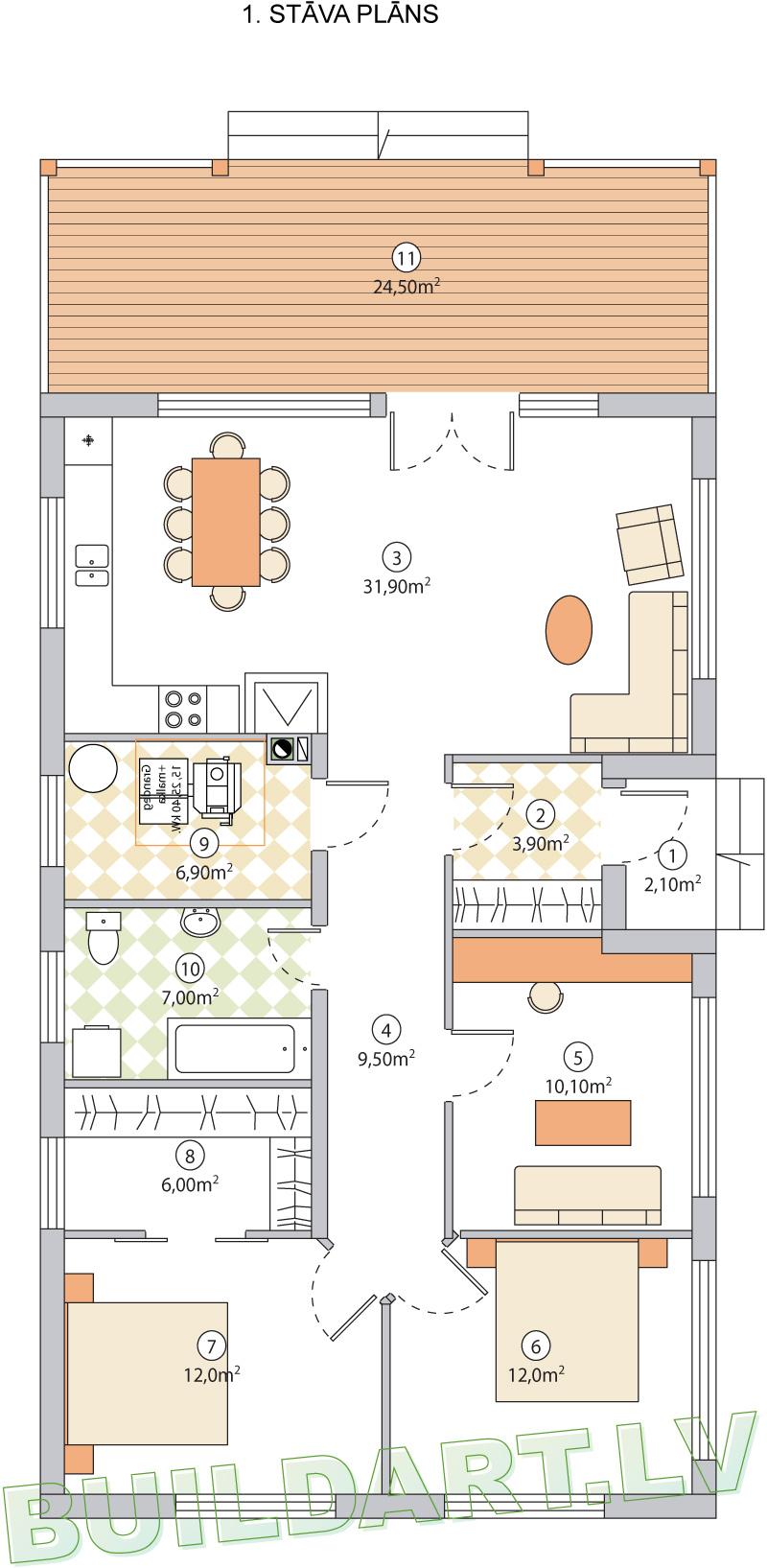 """Dzīvojamās mājas projekts """"Vizbulīte"""" - pirmā stāva plāns"""