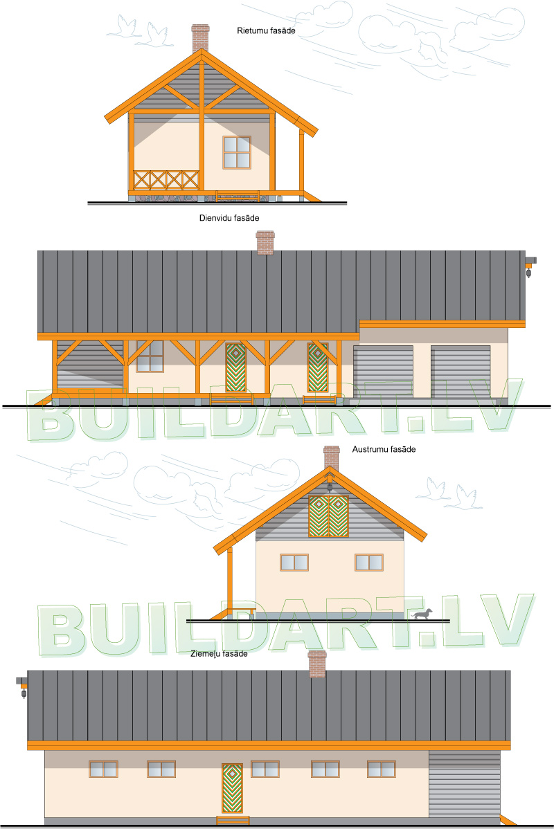 Saimniecības ēkas projekts, saimniecības ēka atpūtai - fasādes
