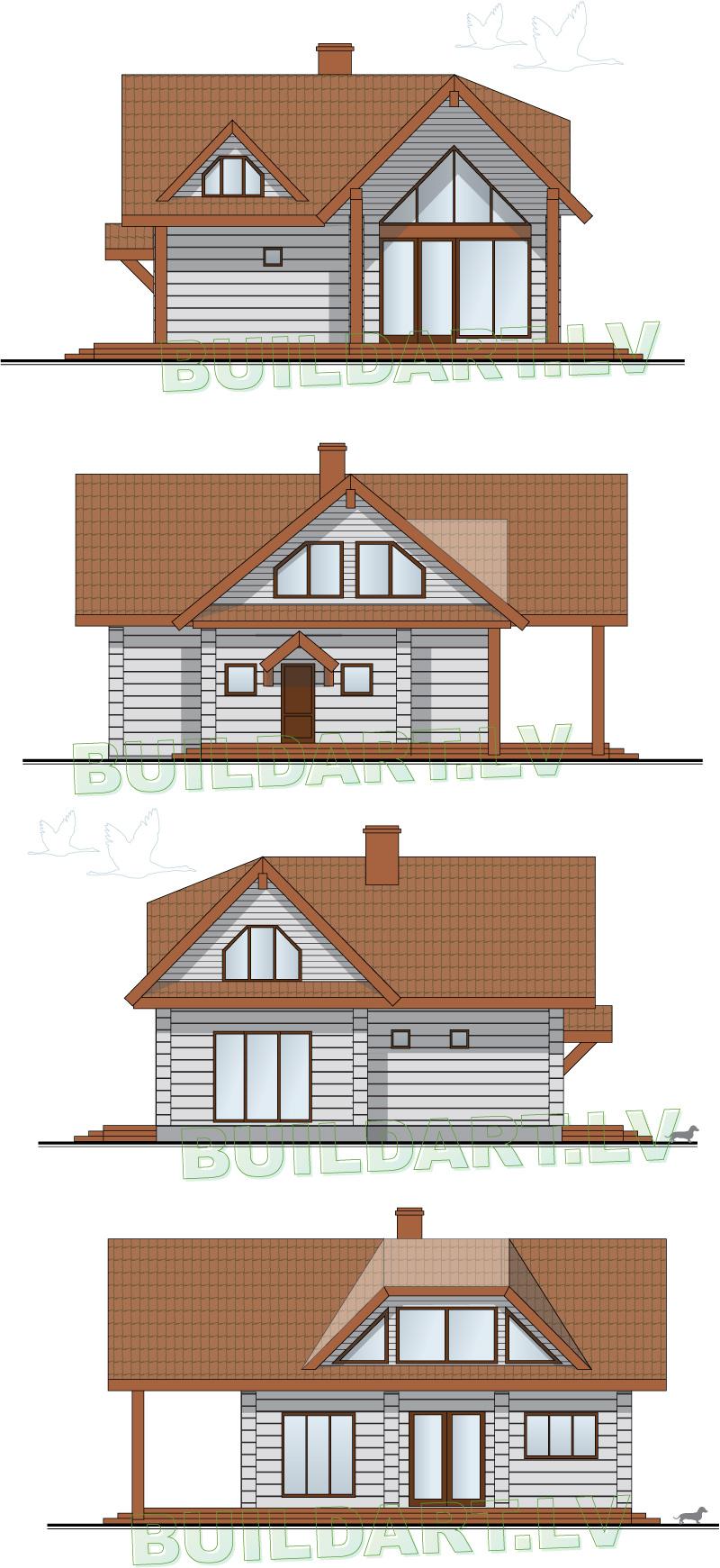 """Dzīvojamās mājas projekts """"Valda"""" - Fasādes"""