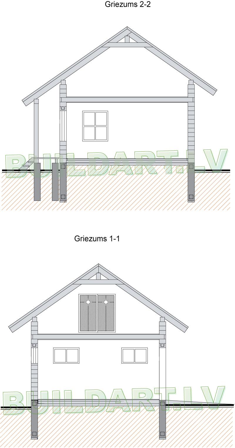 Saimniecības ēkas projekts, saimniecības ēka atpūtai - griezums