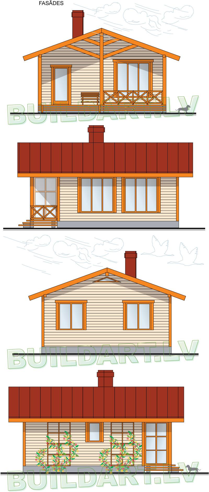 """Dārza mājas projekts """"Marta"""" - fasādes"""
