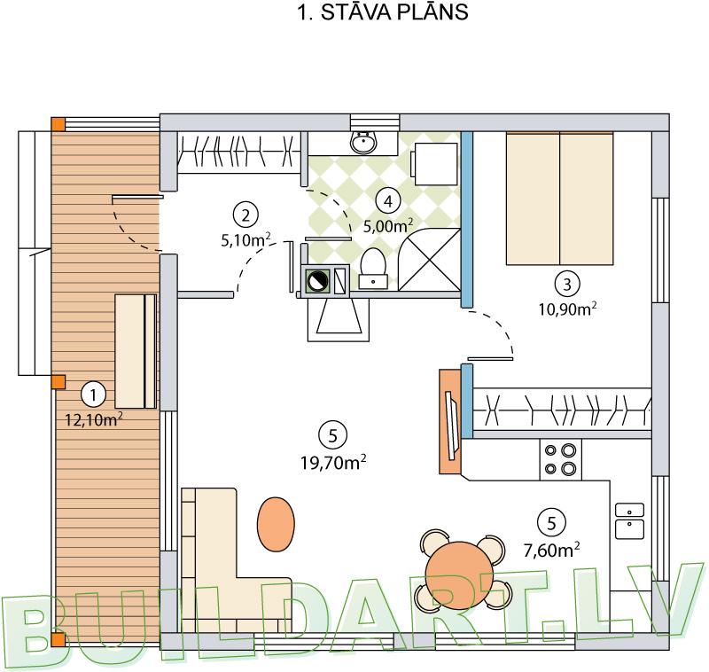 """Dārza mājas projekts """"Marta"""" - plāns"""