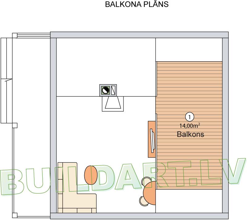 "Dārza mājas projekts ""Marta"" - balkona plāns"