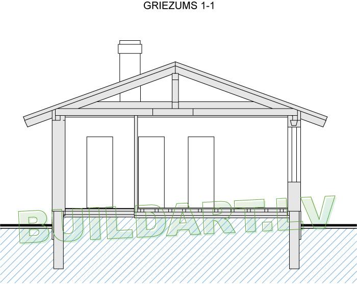 """Dārza mājas projekts """"Marta"""" - griezums"""