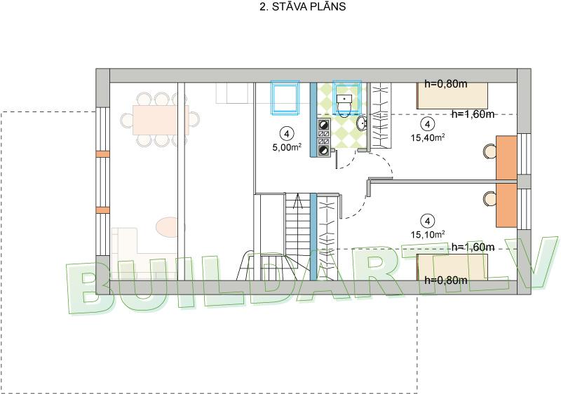 """Mājas projekts """"Mazais Jēkabs"""" - 2. stāva plāns"""