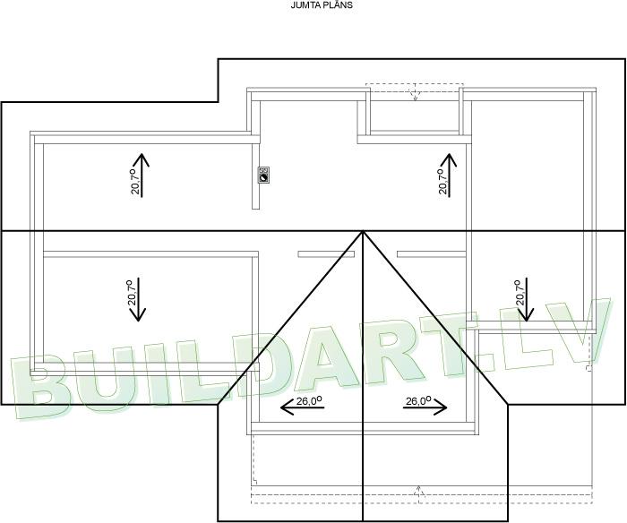 """Dzīvojamās mājas projekts """"Nikola"""" - jumta plāns"""