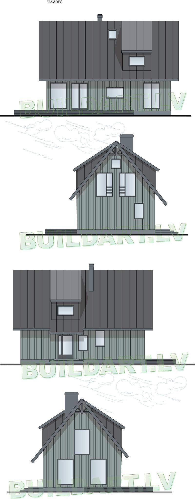 """Mājas projekts """"Smuidrā Elīna"""" - fasādes"""
