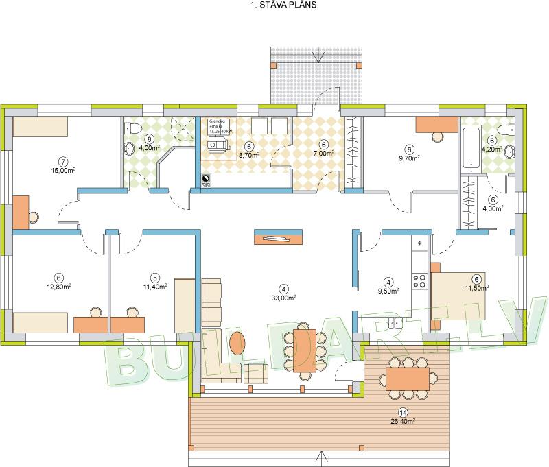 """Dzīvojamās mājas projekts """"Nikola"""" - 1. stāva plāns"""