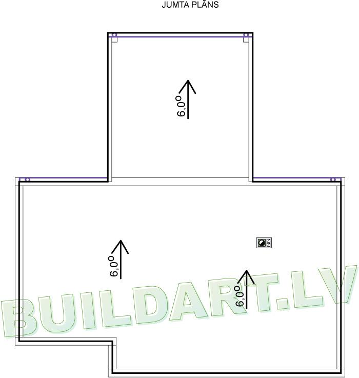"""Dzīvojamās mājas projekts """"Jūlija"""" - jumta plāns"""