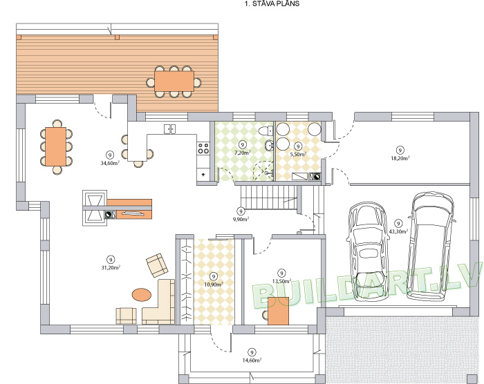 """Mājas projekts """"Saules nams"""" - pirmā stāva plāns"""