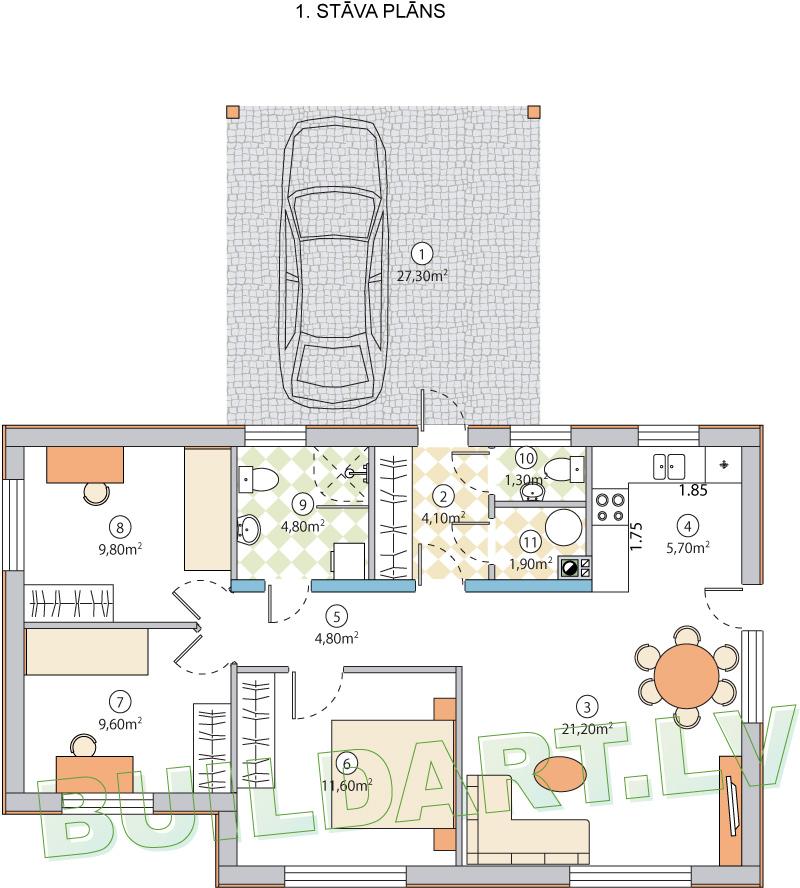"""Dzīvojamās mājas projekts """"Jūlija"""" - plāns"""