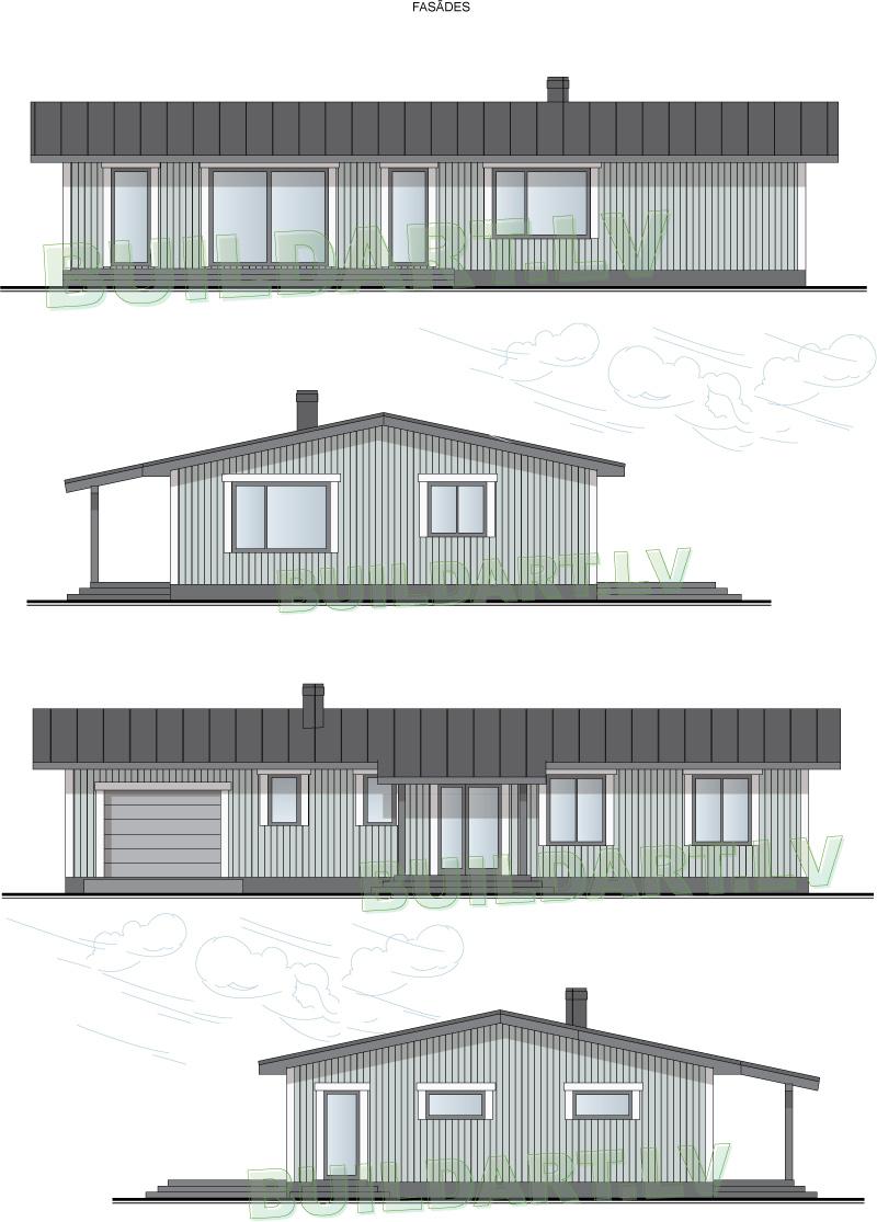 """Mājas projekts """"Linda"""" - projekta fasādes - versija ar gaiši pelēku fasādes toni"""