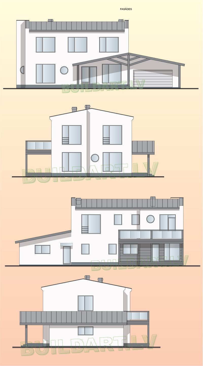 """Mājas projekts """"Saules nams"""" - fasādes"""