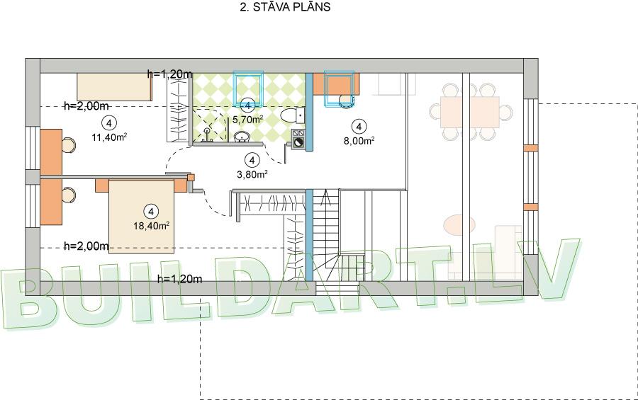 """Dzīvojamās mājas projekts """"Zīle"""" - 2. stāva plāns"""