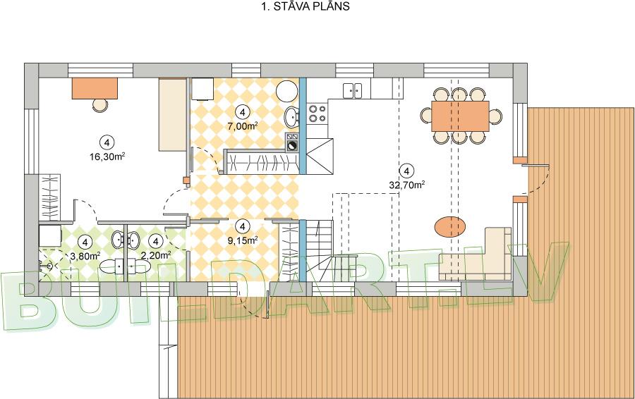 """Dzīvojamās mājas projekts """"Zīle"""" - 1. stāva plāns"""
